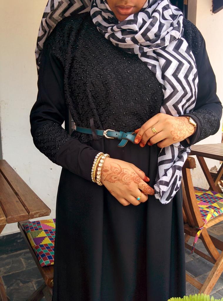 I belted up my abaya. Idea from Miss Sharon Mundia